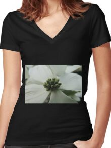 "White ""Dogwood"" or ""Cornus"" Women's Fitted V-Neck T-Shirt"