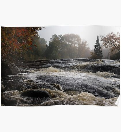 Whiskey River - Foggy Fall Waterscape Poster