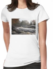 Whiskey River - Foggy Fall Waterscape Womens Fitted T-Shirt