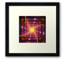 Abstract fantasy square tunnel with yellow and purple lines Framed Print