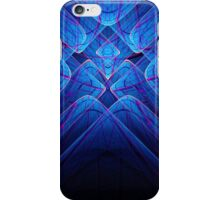 Abstract blue light lines on black iPhone Case/Skin