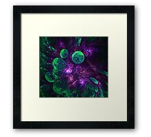abstract space colorful background with bubbles Framed Print