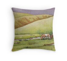 Horses in the Camel Neck Valley Throw Pillow