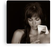 Girl with Calla Canvas Print