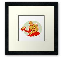 Athlete With Sledgehammer Training Oval Retro Framed Print