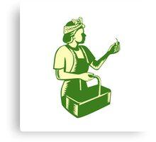 Female Fruit Picker Worker Basket Woodcut Canvas Print