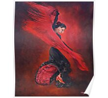 Flamenco in Red and Black Poster