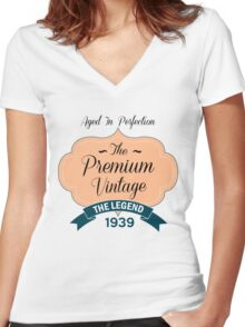 The Premium Vintage 1939 Women's Fitted V-Neck T-Shirt