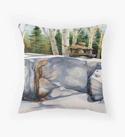 Inukshuk and Poplars Throw Pillow