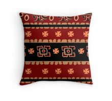 Mexican inspired tribal folk art design in browns Throw Pillow