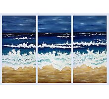 'BEFORE THE STORM' tryptych acrylic textured seascape Photographic Print
