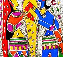 Colorful madhubani art print- Holy Wedding by Dreamcraftindia