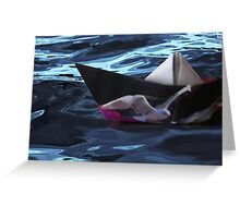 Folded paper boat Greeting Card