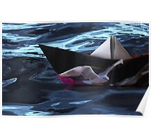 Folded paper boat Poster