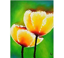 Yellow Flowers on a Green Grass Photographic Print