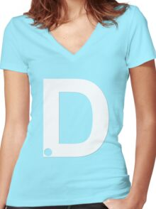 D White Women's Fitted V-Neck T-Shirt