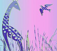 Giraffen mit Vogel -  Giraffe with bird by fuxart