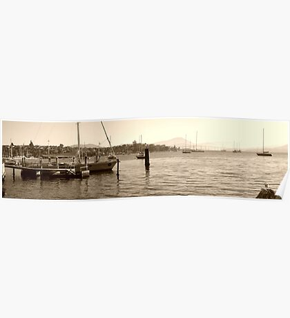 Early morning marina in Hobart Derwent River  -panorama-  sepia Poster