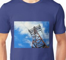 Upward view diagonally to the power line and pylon Unisex T-Shirt