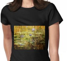 Textured Water Lilies Womens Fitted T-Shirt