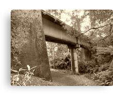 old railway bridge in Tamar Valley - Tasmania   sepia Canvas Print