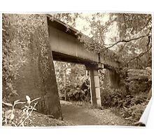 old railway bridge in Tamar Valley - Tasmania   sepia Poster