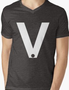 v wHITE Mens V-Neck T-Shirt