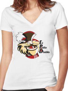 El pollo diablo Women's Fitted V-Neck T-Shirt