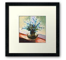 Blue flowers on the window Framed Print