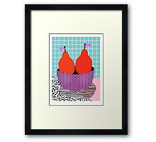 Sprung - 80s throwback style vintage mod retro 1980s neon fruit still life pop art Framed Print