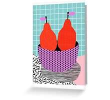 Sprung - 80s throwback style vintage mod retro 1980s neon fruit still life pop art Greeting Card