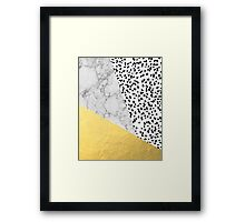 Marble Gold Dots - modern hipster trendy shiny gold foil cell phone case iphone dorm college Framed Print