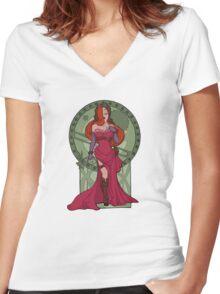 Steampunk Jessica Nouveau Digital T shirt Women's Fitted V-Neck T-Shirt