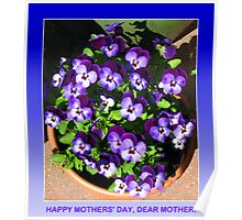 Mothers' Day Greeting Card with Purple Violas Poster