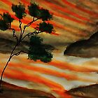 Beautiful sunset with fantacy tree, watercolor by Anna  Lewis