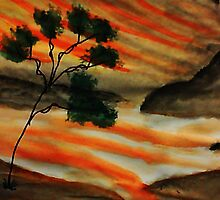 Beautiful sunset with fantacy tree, watercolor by Anna  Lewis, blind artist