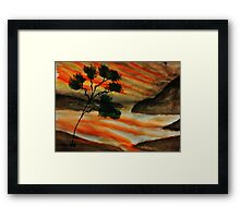 Beautiful sunset with fantacy tree, watercolor Framed Print
