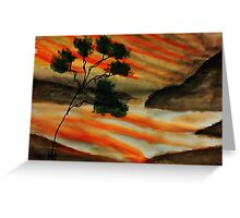 Beautiful sunset with fantacy tree, watercolor Greeting Card