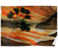 Beautiful sunset with fantacy tree, watercolor Poster