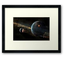 A colonized moon is escaping. Framed Print