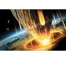A giant asteroid collides with the earth.  Photographic Print