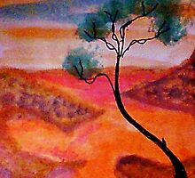 Fantasy tree over a water scene, watercolor by Anna  Lewis