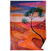 Fantasy tree over a water scene, watercolor Poster