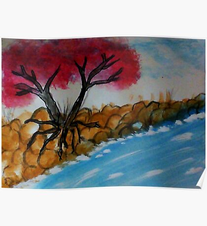Trees growning out of a rocky bank, watercolor Poster
