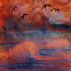 Waves created from a dark  storm, at sunset, watercolor by Anna  Lewis