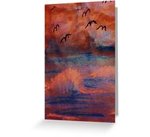 Waves created from a dark  storm, at sunset, watercolor Greeting Card