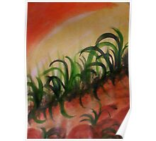 Reeds and weeds growing on a slope, watercolor Poster