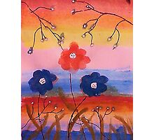 Flowers in fantasy rainbow, watercolor Photographic Print