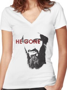 He Gone Women's Fitted V-Neck T-Shirt