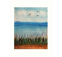Tall  grass along the waterfront, with birds, watercolor Art Print